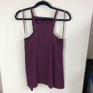 Milly purple silk open back sleeveless top